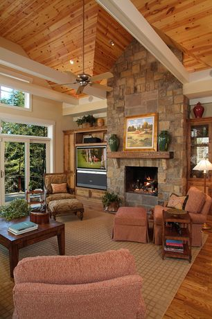 Living Room Stone Fireplace Cathedral Ceiling Zillow Digs