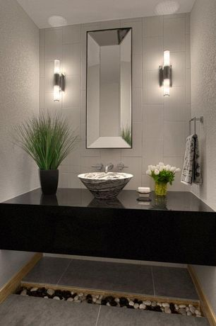 Contemporary Powder Room With Simple Granite Counters By MosaicArchitects Z