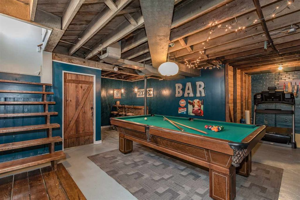 Rustic Game Room With Hardwood Floors amp Box Ceiling In