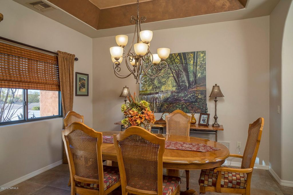Traditional Dining Room with High ceiling travertine