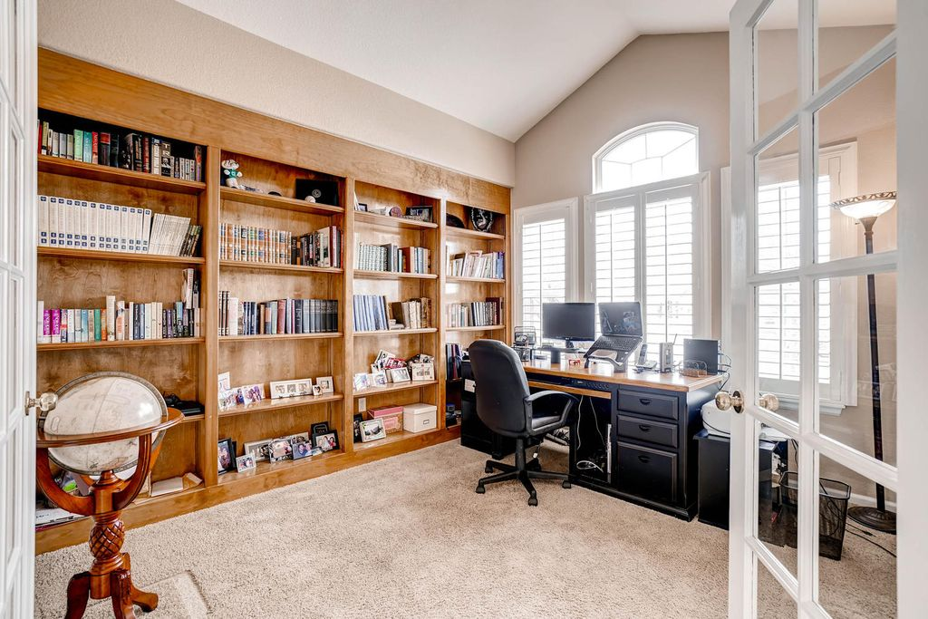 Traditional Home Office With Cathedral Ceiling Amp Carpet In