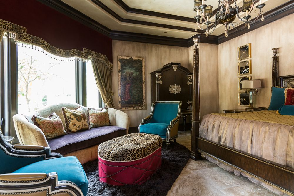 Traditional Master Bedroom With Chandelier By The Design