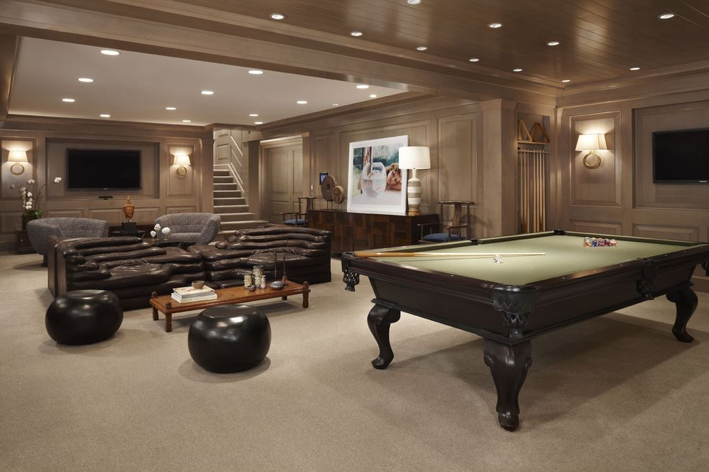 Traditional Basement With Pool Table By CBI Design