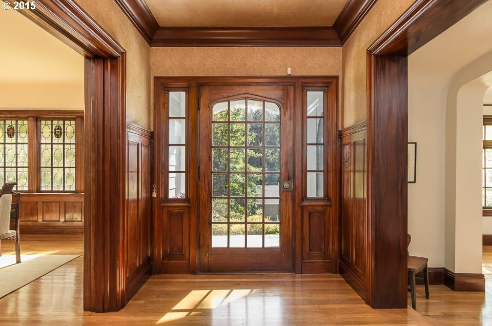 Craftsman Entryway With Wainscoting amp Crown Molding In