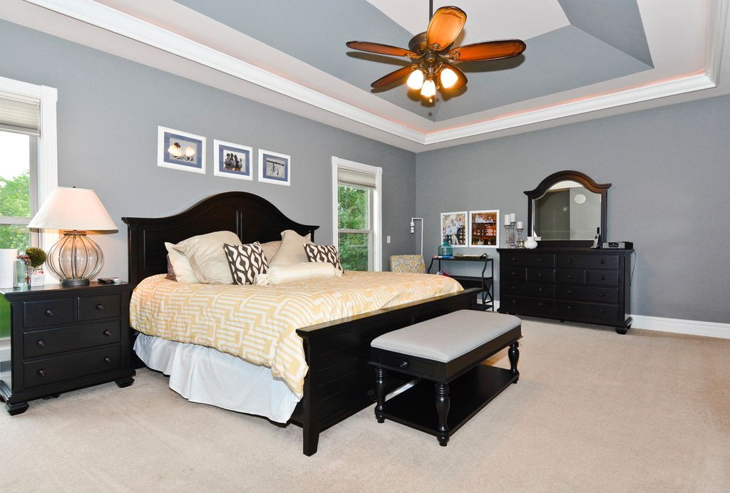 Master Bedroom with Ceiling fan & Carpet in Chesterfield