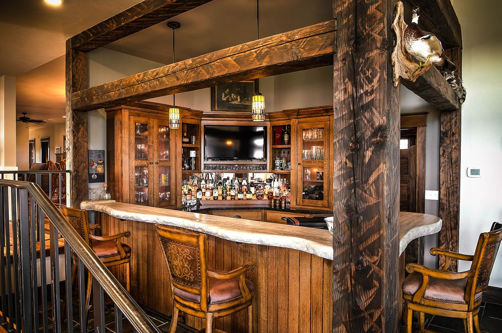 Rustic Bar with Columns by Cabinet Concepts by Design ...