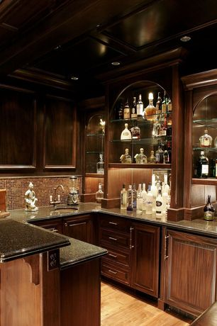 2 Tags Traditional Bar With Built In Bookshelf, Box Ceiling, Glass  Mesh Mounted Mosaictile