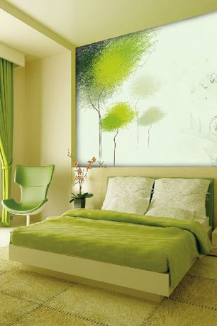 Attrayant 2 Tags Contemporary Master Bedroom With Green Grommet Top Blackout Curtain  Panel Pair, High Ceiling, Platform
