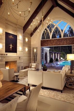 4 Tags Modern Living Room With Cathedral Ceiling, Chandelier, Carpet,  Restoration Hardware South American Cowhide