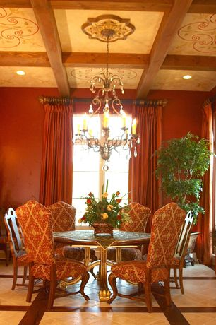 2 Tags Traditional Dining Room With Floor To Ceiling Curtain, House Plants,  Chandelier, Upholstered Dining