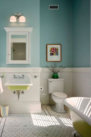 4 tags Traditional Full Bathroom with Glass panel, penny tile floors,  Flush, Pottery Barn Hotel