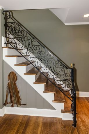 1 Tag Traditional Staircase With Wrought Iron Stair Railing, Hardwood Floors