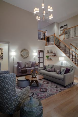 5 Tags Contemporary Living Room With French Doors Loft Built In Bookshelf Hardwood Floors