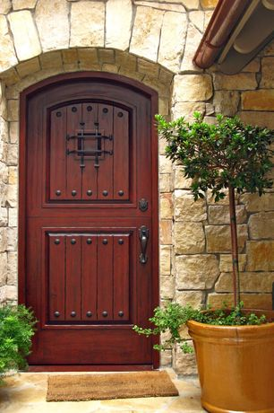 Rustic Front Door With Glass Panel Exterior Stone Floors