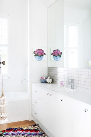 5 tags Contemporary Full Bathroom with Hardwood floors  Lew  39 s Hardware Glass Ball Knobs  Shaggy Raggy Multicolor. Mid Range White Bathroom Design Ideas  amp  Pictures   Zillow Digs