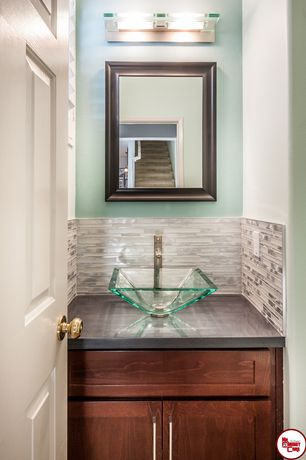 Powder Room Design Ideas decorate the powder room walls with framed art work design royal home improvements 7 Tags Modern Powder Room With Marbled Bronze Beveled Wall Mirror By Mcsindustries High Ceiling Dawn