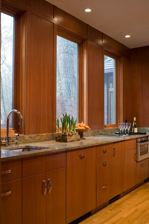 3 Tags Modern Kitchen With European Cabinets, One Wall, Complex Granite  Counters, Undermount Sink