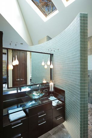 4 Tags Modern Master Bathroom With Glass Counters, Curved Wall, European  Cabinets, Vessel Sink,