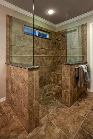 Modern master bathroom with flush light crown molding Bathtub styles