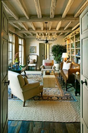 3 Tags Rustic Living Room With Built In Bookshelf Hardwood Floors French Doors Exposed