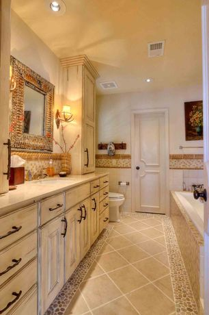 4 Tags Rustic Full Bathroom With Undermount Sink Limestone Counters Durasupreme Cabinets Kenall Panel Style