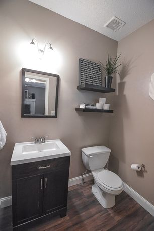 Traditional Powder Room With Limestone Counters Amp Flush In