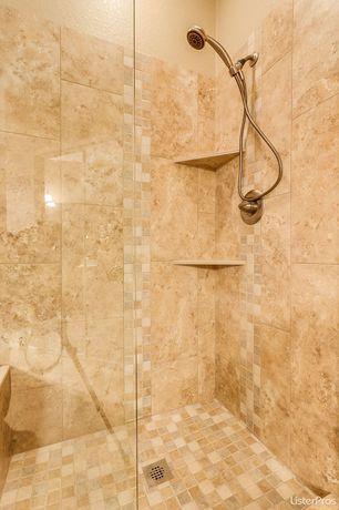 2 Tags Mediterranean 3/4 Bathroom With Frameless Showerdoor, High Ceiling,  Handheld Shower Head,