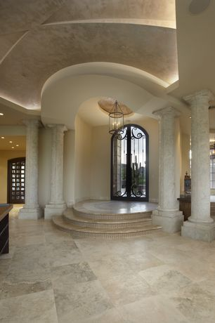 1 tag Mediterranean Entryway with Chandelier, travertine tile floors,  Castle 18 in. x 18 in. Soloway Designs ...