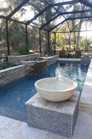 Traditional Swimming Pool With Indoor Pool, Exterior Stone Floors, Pool  With Hot Tub,