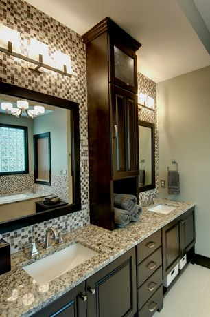 Traditional master bathroom with simple granite counters for L shaped master bathroom layout