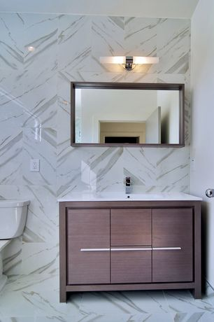 Modern Powder Room Complex Marble Tile Floors Zillow Digs Zillow