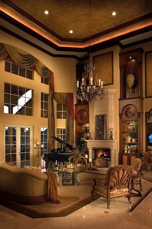 4 Tags Traditional Living Room With Cement Fireplace, Chandelier, French  Doors, Crown Molding, Built