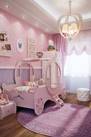 Eclectic Kids Bedroom with Pink Princess Carriage Bed, flush light, Carpet,  interior wallpaper