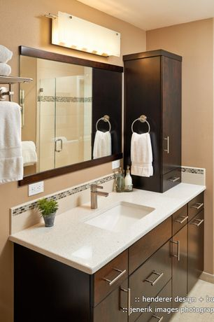 Modern 3/4 Bathroom With Undermount Sink, Quartz Tile, Crystal White Quartz,