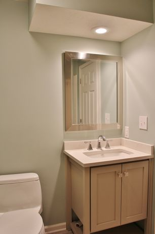 2 Tags Contemporary Powder Room With Undermount Sink, High Ceiling,  Limestone Counters, Powder Room,