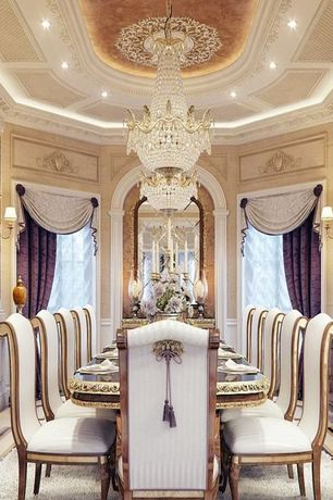 4 Tags Traditional Dining Room With Crema Marfil Classic Marble Countertop,  Christopher Guy Bela Chair, Crown