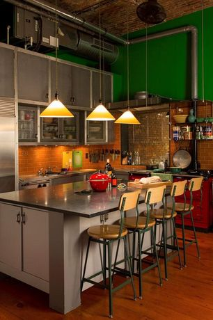 Eclectic Kitchen With Pendant Light, Contempo Lipstick Red Brick Glass   6  In. X