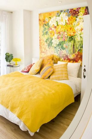 4 Tags Eclectic Guest Bedroom With Sylvia Angeli S Vernal Youth Iii Canvas Gallery Wrap Hardwood