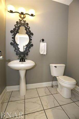 5 Tags Traditional Powder Room With MS International Greecian White 12 In.  X 12 In. Honed