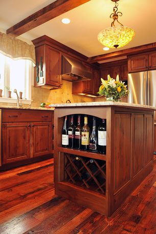 Craftsman Kitchen With Kitchen Island Raised Panel Stone Tile Simple Granite Counters