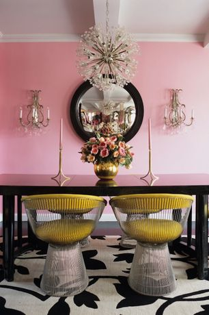 Eclectic Dining Room With Concrete Floors, Platner Libo Dining Side Chair,  Chandelier, Surya