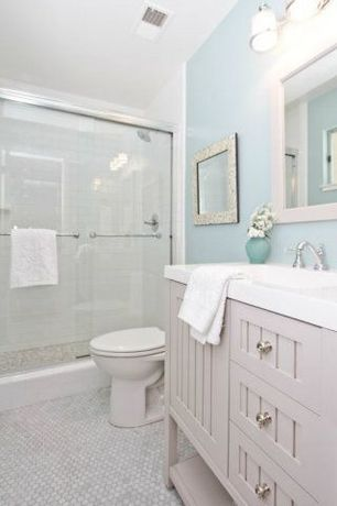 White bathroom penny tile floors design ideas pictures for Bathroom ideas zillow