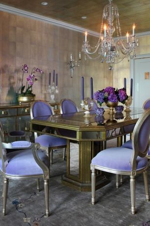 5 Tags Traditional Dining Room With Contrasting Interior Trim, Chandelier,  Crown Molding, Wallcovering, Pedestal