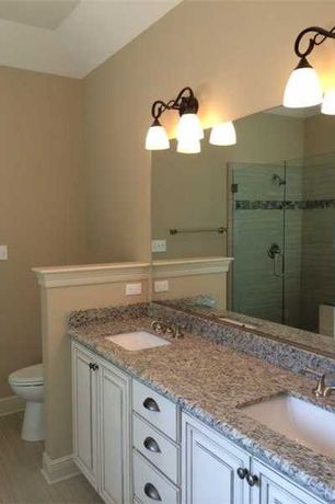 Traditional Master Bathroom With Kitchen Craft,Bristol Cabinet Door Style, Limestone  Floors, Wall