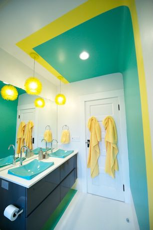6 Tags Contemporary Kids Bathroom With High Ceiling, Kids Bathroom,  Limestone Floors, European Cabinets,