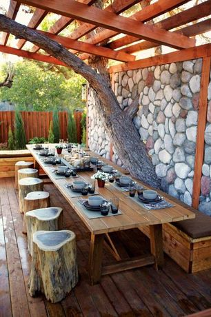 Rustic Patio With Trellis, Fence