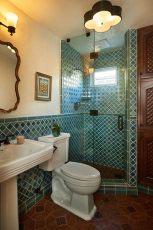 2 Tags Mediterranean 3 4 Bathroom With Mexican Tile Rain Shower Head Frameless Showerdoor Ederra Design Studio Interior