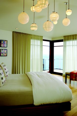 Modern Master Bedroom with Pendant Light, Zebra Pendant Light, French  doors, Balcony,