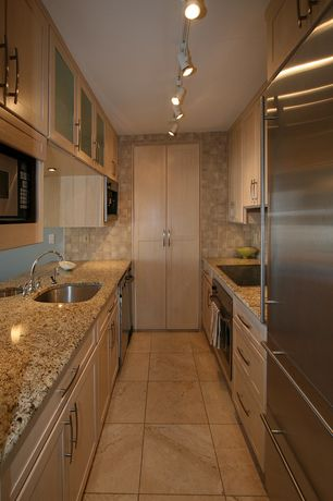 Delightful 4 Tags Modern Kitchen With Amber Yellow Granite Countertop, Door Style  Plymouth, Galley, Large Ceramic
