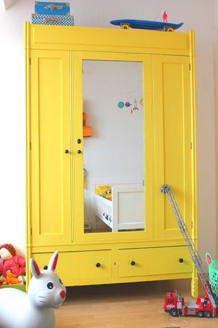3 tags contemporary kids bedroom with yellow wardrobe